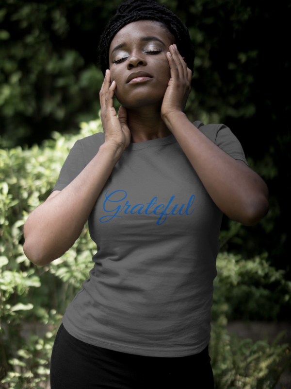 African American woman wearing grateful tshirt by CP Designs Unlimited