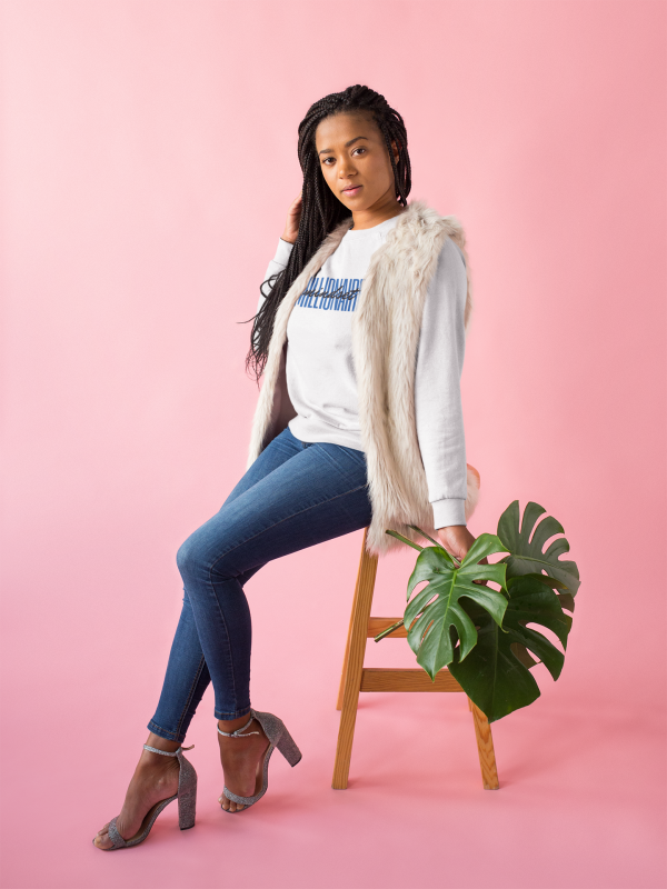 African American woman wearing Millionaire Mindset Sweatshirt by CP Designs Unlimited