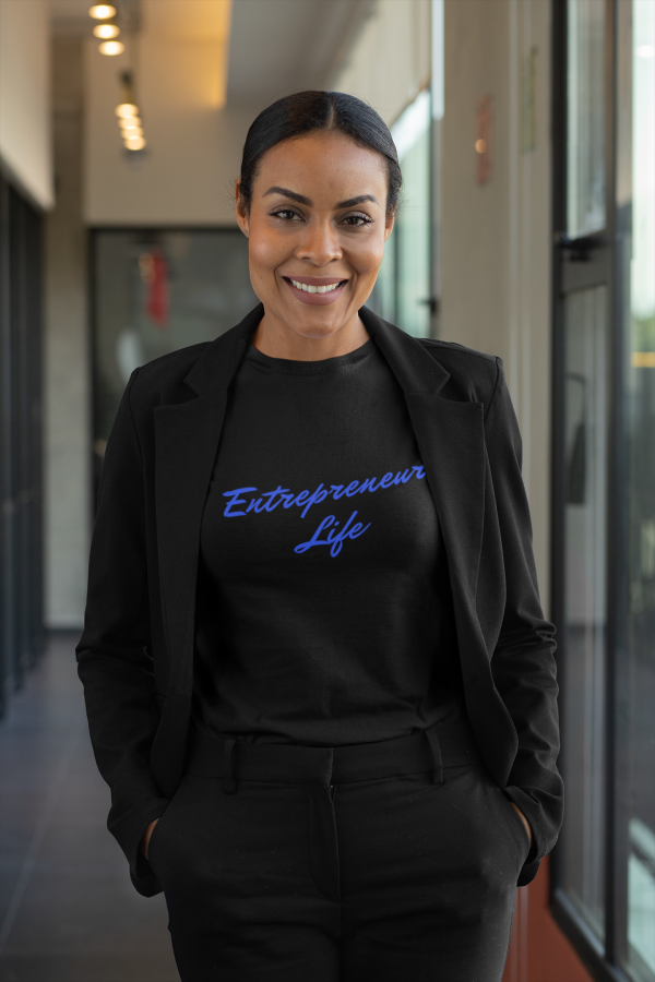 African American woman wearing Entrepreneur Life tee by CP Designs Unlimited