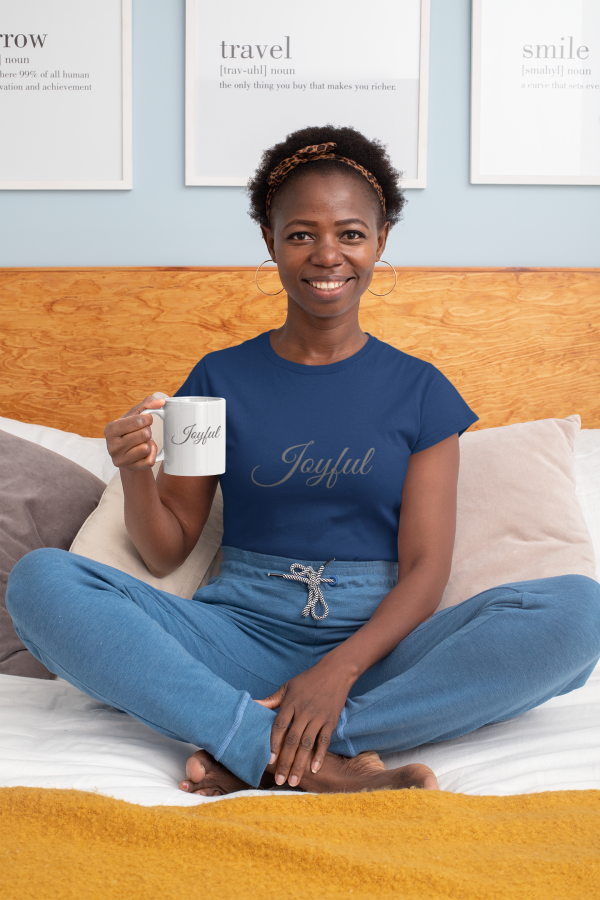 African American woman wearing joyful tshirt by CP Designs Unlimited