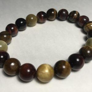 Men's Red, Brown & Golden Accent Tiger's Eye Bracelet
