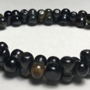 Men's Black Dog Bone Tiger's Eye Bracelet
