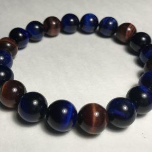 Men's Red & Blue Tiger's Eye Bracelet